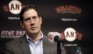 FILE - In this Jan. 19, 2018, file photo, San Francisco Giants general manager Bobby Evans during a news conference in San Francisco. Evans has been fired as the Giants' general manager, Monday, Sept. 24, 2018. (AP Photo/Marcio Jose Sanchez, File)