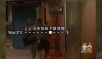 Newly released surveillance footage shows Chantal Castanon chasing down and beating a man who allegedly groped her in a New York City subway terminal. (CBS New York)
