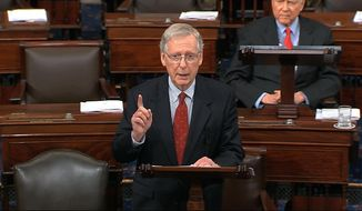In this image from Senate Television, Majority Leader Mitch McConnell of Ky., speaks on the floor of the U.S. Senate in September 2018. The Senate on Nov. 20, 2019, confirmed President Trump's appointment of Adrian Zuckerman to be ambassador to Romania. (Senate Television via AP) **FILE**