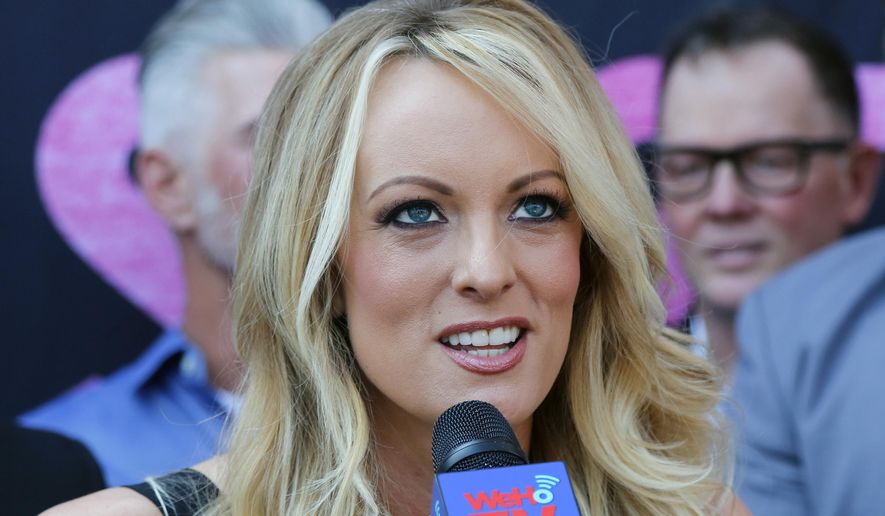 In this May 23, 2018, file photo Stormy Daniels, speaks during a ceremony for her receiving a City Proclamation and Key to the City in West Hollywood, Calif. (AP Photo/Ringo H.W. Chiu, File)