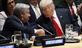 """United Nations Secretary General Antonio Guterres, left, shakes hands with President Donald Trump during the """"Global Call to Action on the World Drug Problem"""" at the United Nations General Assembly, Monday, Sept. 24, 2018, at U.N. Headquarters. (AP Photo/Evan Vucci)"""