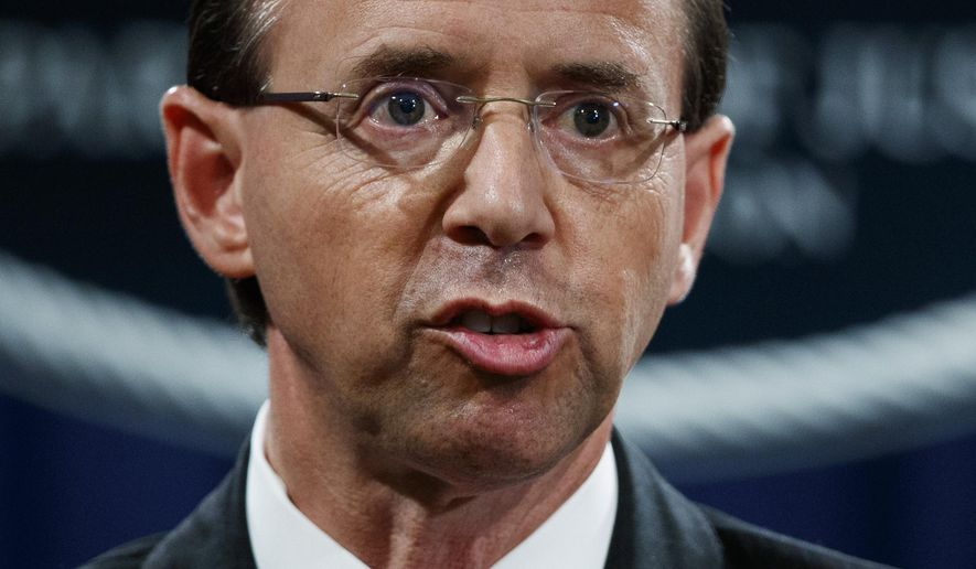 In this July 13, 2018, file photo, Deputy Attorney General Rod Rosenstein speaks during a news conference at the Department of Justice in Washington. (AP Photo/Evan Vucci) ** FILE **