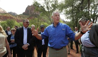 Interior Secretary Ryan Zinke speaks during a tour at Zion National Park on Monday, Sept. 24, 2018. Zinke was in southern Utah to draw attention to a maintenance backlog at national parks.  (Jeffrey D. Allred/The Deseret News via AP)
