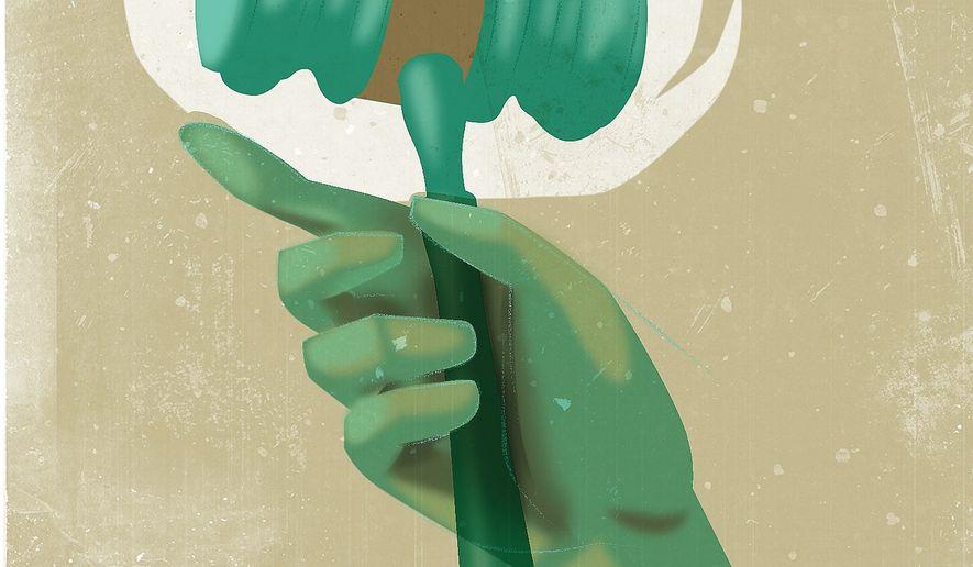 Illustration on liberty and self-rule by Linas Garsys/The Washington Times