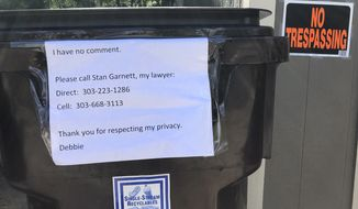 "A sign requesting privacy and stating she has no comment is posted outside the home of Deborah Ramirez in Boulder, Colo., Monday Sept. 24, 2018. Judge Brett Kavanaugh says he will ""not be intimidated into withdrawing"" his nomination for the Supreme Court after allegations of sexual misconduct. Kavanaugh and his first accuser, Christine Blasey Ford, will testify to the Senate Judiciary Committee on Thursday. A second woman, Deborah Ramirez, has told The New Yorker that Kavanaugh exposed himself to her in college. Kavanaugh denies both allegations. (AP Photo/Brian Skoloff)"