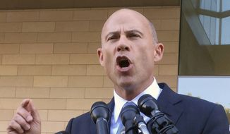 "Michael Avenatti, attorney for porn actress Stormy Daniels, talks to reporters after a federal court hearing in Los Angeles, Monday, Sept. 24, 2018. Judge S. James Otero appears poised to toss out a defamation lawsuit against President Donald Trump by Daniels, whose real name is Stephanie Clifford. Otero said that a tweet the president wrote in April appears to be ""rhetorical hyperbole"" and protected speech. (AP Photo/Amanda Lee Myers)"