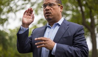 In this Aug. 17, 2017, photo, U.S. Rep. Keith Ellison addresses campaign volunteers and supporters in Minneapolis. Minnesota's Democratic Party chairman said Monday, Sept. 24, 2018 that  he expects the investigation into allegations of physical abuse against Ellison to be finished soon. Ellison denied the accusations in August 2018 from former girlfriend that he once physically abused her. (Alex Kormann/Star Tribune via AP) **FILE**
