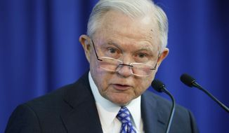 Attorney General Jeff Sessions speaks during the Office of Justice Programs' National Institute of Justice Opioid Research Summit in Washington, Tuesday, Sept. 25. (AP Photo/Carolyn Kaster)