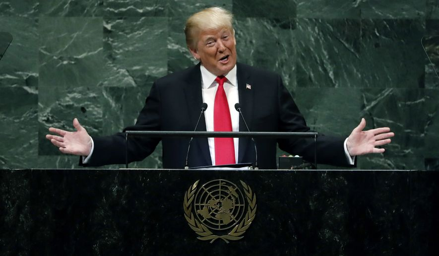 """President Donald Trump addresses the 73rd session of the United Nations General Assembly, at U.N. headquarters, Tuesday, Sept. 25, 2018. A sound of sudden, loud and unexpected laughter was directed at Trump as he addressed global leaders at the United Nations, and it was witnessed by an audience of tens of millions viewing immediate clips online of a humiliating moment for Donald Trump. The laughter followed Trump's boasts that """"in less than two years, my administration has accomplished more than almost any administration in the history of our country.""""   (AP Photo/Richard Drew, File)"""
