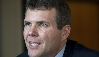 FILE - In this April 18, 2018 file photo, Alabama Democratic gubernatorial candidate Walt Maddox speaks at the Montgomery Advertiser offices in Montgomery, Ala. Gov. Kay Ivey has so far refused to debate Democratic challenger Walt Maddox ahead of the November election. (Mickey Welsh/The Montgomery Advertiser via AP, File)