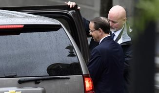 Deputy Attorney General Rod Rosenstein leaves the White House in Washington, Monday, Sept. 24, 2018. (AP Photo/Susan Walsh)
