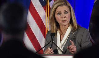 In this file photo, then-candidate Marsha Blackburn speaks at the 2018 Tennessee U.S. Senate Debate against Democratic candidate and former Gov. Phil Bredesen at Cumberland University Tuesday, Sept. 25, 2018, in Lebanon, Tenn. (Lacy Atkins/The Tennessean via AP, Pool)  **FILE**