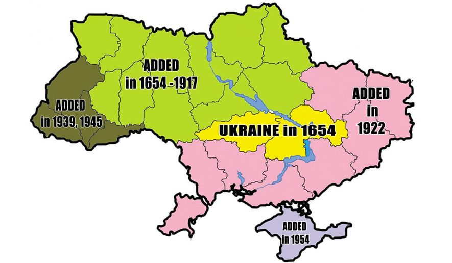 Map of the roots of Ukrainian crisis from 1654 to present