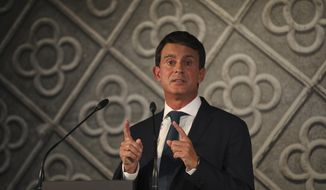 France's former prime minister Manuel Valls speaks during a press conference in Barcelona, Spain to announce his candidacy for mayor of Barcelona on Tuesday, Sept. 25, 2018. (AP Photo/Emilio Morenatti)