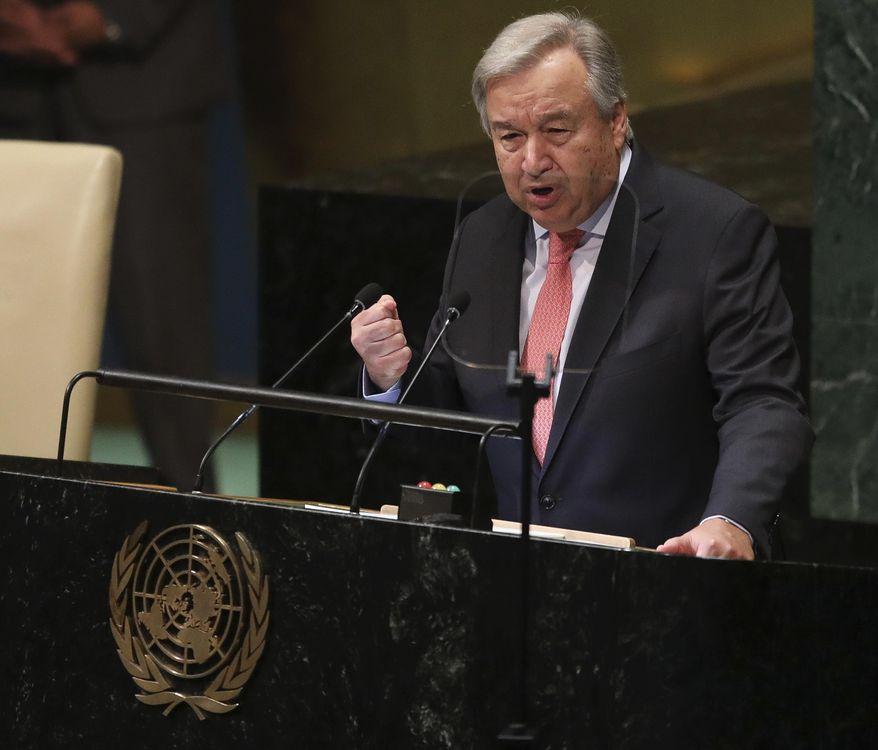 United Nations Secretary General Antonio Guterres speaks during the United Nations General Assembly, Tuesday Sept. 25, 2018 at U.N. headquarters. (AP Photo/Bebeto Matthews)