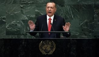 Turkey's President Recep Tayyip Erdogan addresses the 73rd session of the United Nations General Assembly, at U.N. headquarters, Tuesday, Sept. 25, 2018. (AP Photo/Richard Drew)