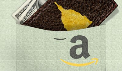 Illustration on concerns over legislation and Amazon.com by Alexander Hunter/The Washington Times
