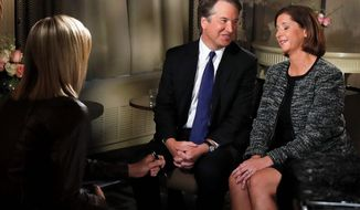 Brett Kavanaugh and his wife, Ashley, during an interview with Fox News host Martha McCallum   Associated Press photo