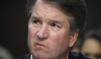 """In this Sept. 6, 2018 photo, Supreme Court nominee Brett Kavanaugh testifies before the Senate Judiciary Committee on Capitol Hill in Washington.  Kavanaugh is denying a sexual misconduct allegation from when he was in high school. In a statement issued Friday, Kavanaugh says the following: """"I categorically and unequivocally deny this allegation. I did not do this back in high school or at any time."""" The New Yorker reported the alleged incident took place at a party when Kavanaugh was attending Georgetown Preparatory School.  (AP Photo/Alex Brandon)"""