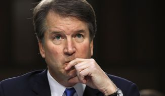 In this Sept. 5, 2018, file photo, President Donald Trump's Supreme Court nominee, Brett Kavanaugh listens to a question while testifying before the Senate Judiciary Committee on Capitol Hill in Washington. (AP Photo/Jacquelyn Martin, File)