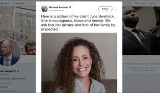 Screenshot of Michael Avenatti's Twitter feed featuring his client Julie Swetnick.