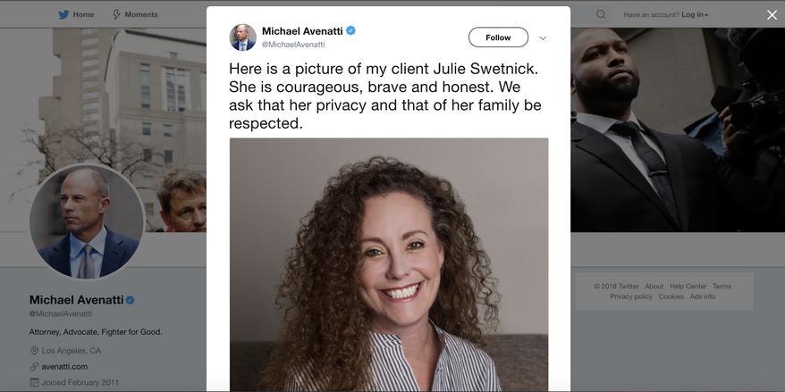 Screenshot of Michael Avenatti's Twitter feed featuring his client Julie Swetnick.