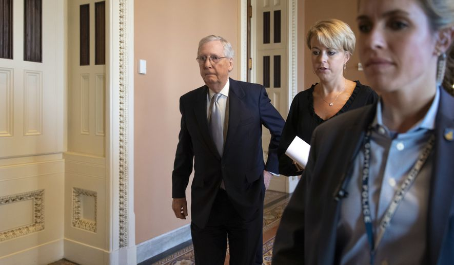 Senate Majority Leader Mitch McConnell, R-Ky., walks to the chamber after meeting with Vice President Mike Pence and fellow Republicans, at the Capitol in Washington, Wednesday, Sept. 26, 2018. (AP Photo/J. Scott Applewhite)