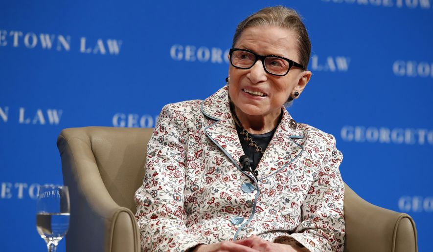Supreme Court Justice Ruth Bader Ginsburg smiles as she takes questions from first-year students at Georgetown Law, Wednesday, Sept. 26, 2018, in Washington. (AP Photo/Jacquelyn Martin)