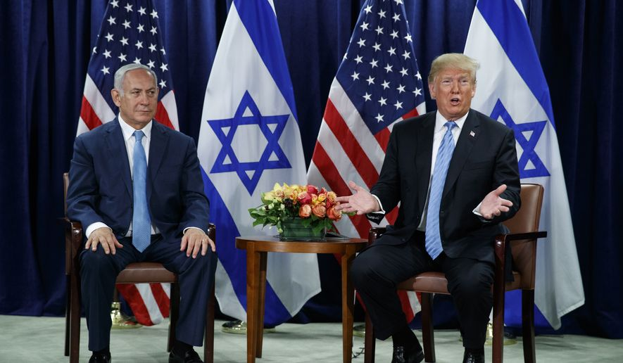 President Donald Trump speaks during a meeting with Israeli Prime Minister Benjamin Netanyahu at the United Nations General Assembly, Wednesday, Sept. 26, 2018, at U.N. Headquarters. (AP Photo/Evan Vucci)
