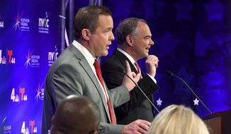 Republican Corey Stewart, left, and Democratic U.S. Sen. Tim Kaine participate in a Virginia senatorial debate, Wednesday, Sept. 26, 2018, at Capital One headquarters, in McLean, Va. (Katherine Frey/The Washington Post via AP, Pool)