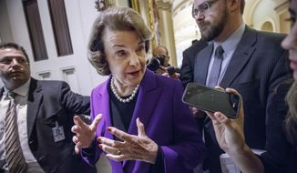 FILE - In this Dec. 9, 2014, file photo, Senate Intelligence Committee Chair Sen. Dianne Feinstein, D-Calif. speaks to reporters on Capitol Hill in Washington, as she leaves the Senate chamber after releasing a report on the CIA's harsh interrogation techniques at secret overseas facilities after the 9/11 terror attacks. North Carolina state and local officials should prosecute participants in a CIA program that ferried suspected terrorists to secret sites where they were tortured, an advocacy group seeking to stir action over the former U.S. policy is demanding. (AP Photo/J. Scott Applewhite, File)