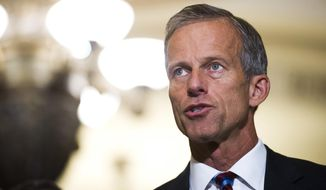 "FILE - In this Sept. 5, 2018, file photo, Sen. John Thune, R-S.D., speaks with reporters after the Republican's policy luncheon on Capitol Hill in Washington. The Trump administration is hoping Congress can come up with a new set of national rules governing how companies can use consumers' data that finds a balance between ""privacy and prosperity."" ""Consumers deserve clear answers and standards on data privacy protection,"" Thune, who heads the Commerce panel, said in a statement. By hearing from the companies, lawmakers will be able to assess ""what Congress can do to promote clear privacy expectations without hurting innovation,"" he said. (AP Photo/Cliff Owen, File)"