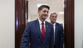 Speaker of the House Paul Ryan, R-Wis., left, and Majority Leader Kevin McCarthy, R-Calif., arrives for a news conference to talk about a defense funding bill moving in the House, at the Capitol in Washington, Wednesday, Sept. 26, 2018. (AP Photo/J. Scott Applewhite)