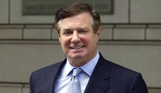 In this May 23, 2018, file photo, Paul Manafort, President Donald Trump's former campaign chairman, leaves Federal District Court after a hearing in Washington. (AP Photo/Jose Luis Magana, File)