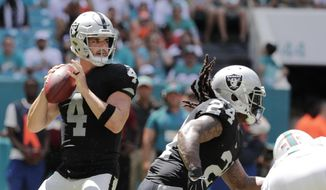 Oakland Raiders quarterback Derek Carr prepares to pass during the first half of an NFL football game against the Miami Dolphins, Sunday, Sept. 23, 2018, in Miami Gardens, Fla. (AP Photo/Lynne Sladky)