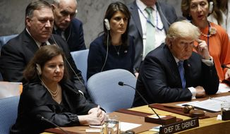 President Donald Trump participates in a United Nations Security Council briefing on counterproliferation at the United Nations General Assembly, Wednesday, Sept. 26, 2018, at U.N. Headquarters. (AP Photo/Evan Vucci)