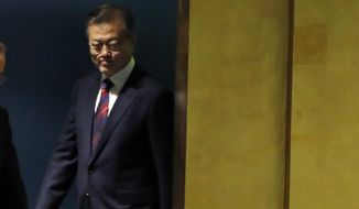 South Korea's President Moon Jae-in arrives to address the 73rd session of the United Nations General Assembly, at U.N. headquarters, Wednesday, Sept. 26, 2018. (AP Photo/Richard Drew)