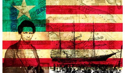 Illustration on the history of Liberia by Alexander Hunter/The Washington Times