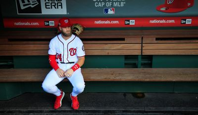 Washington outfielder Bryce Harper is likely to be the highest-priced free agent in baseball history this offseason. If he signs elsewhere, this weekend's series in Colorado will be his last three games in a Nationals uniform. (ASSOCIATED PRESS)