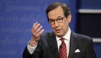 Moderator Chris Wallace of FOX News talks to the audience before the start of the third and final presidential debate between Democratic presidential nominee Hillary Clinton Republican presidential nominee Donald Trump at UNLV in Las Vegas, Wednesday, Oct. 19, 2016. (AP Photo/John Locher) ** FILE **