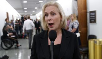 Sen. Kirsten Gillibrand, D-N.Y., speaks to media during a break in a Senate Judiciary Committee hearing on Capitol Hill in Washington, Thursday, Sept. 27, 2018, with Christine Blasey Ford and Supreme Court nominee Brett Kavanaugh. (AP Photo/Carolyn Kaster)