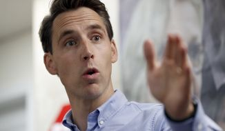 Missouri Attorney General and Republican U.S. Senate candidate Josh Hawley speaks to supporters during a campaign stop Thursday, Sept. 27, 2018, in St. Charles, Mo. Hawley is seeking to unseat Democratic incumbent Sen. Claire McCaskill. (AP Photo/Jeff Roberson)