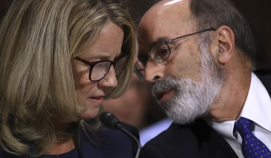 Christine Blasey Ford listens to her attorney Michael Bromwich as she testifies before the Senate Judiciary Committee, Thursday, Sept. 27, 2018 in Washington. (Win McNamee/Pool Image via AP)
