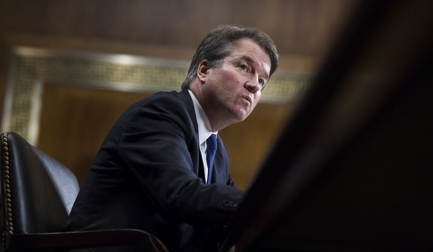 Supreme Court nominee Brett Kavanaugh testifies before the Senate Judiciary Committee on Capitol Hill in Washington, Thursday, Sept. 27, 2018.  (Tom Williams/Pool Image via AP)
