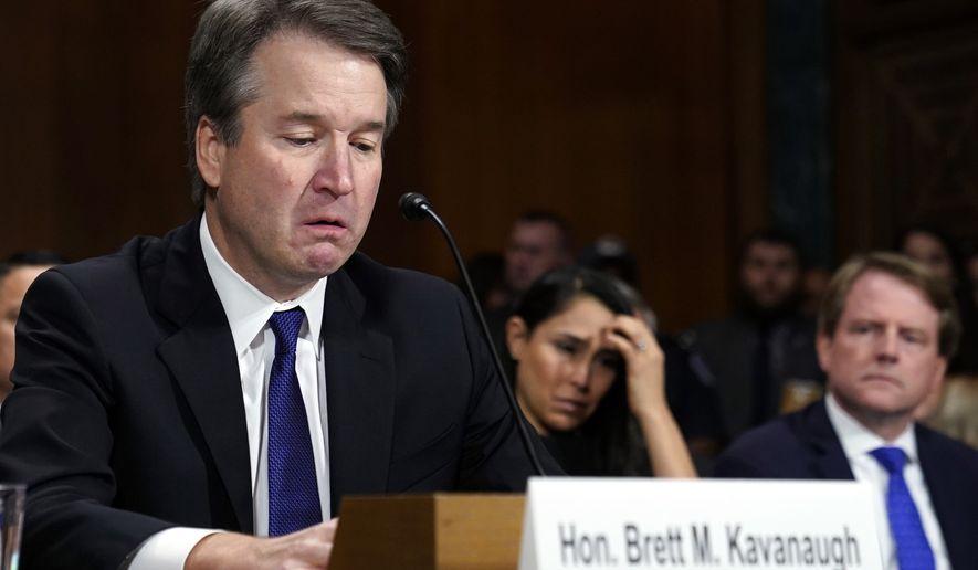 Supreme court nominee Brett Kavanaugh testifies before the Senate Judiciary Committee on Capitol Hill in Washington, Thursday, Sept. 27, 2018. (Saul Loeb/Pool Photo via AP)