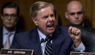 Sen. Lindsey Graham,South Carolina Republican, lashed out at Democrats as he defended Supreme Court nominee Brett M. Kavanaugh at a Senate Judiciary Committee hearing. (Associated Press/File)