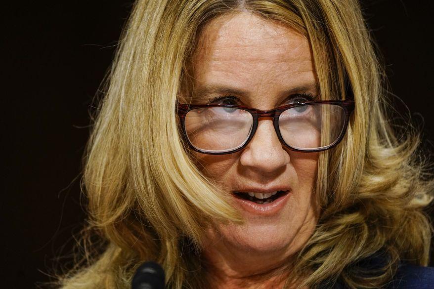 Christine Blasey Ford testifies at a Senate Judiciary Committee hearing on Thursday, Sept. 27, 2018 on Capitol Hill. (Melina Mara/Pool/The Washington Post)