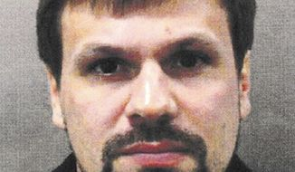 This undated handout file photo issued by the Metropolitan Police shows the Russian National named as Ruslan Boshirov. An online investigations group has published what it says is the real identity of one of the prime suspects in the Salisbury nerve agent attack. The investigative group Bellingcat says it has identified one of the two suspects in the poisoning of an ex-Russian spy as a highly-decorated colonel of the Russian military intelligence agency GRU. Bellingcat said Wednesday, Sept. 26 that the suspect whose passport name was Ruslan Boshirov is in fact Col. Anatoliy Chepiga. (Metropolitan Police via AP)