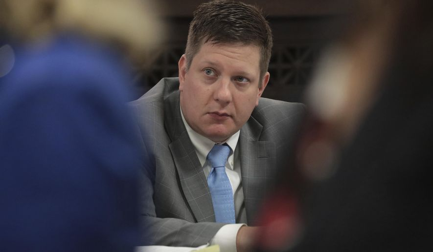 Chicago police Officer Jason Van Dyke listens during during his first degree murder trial for the shooting death of Laquan McDonald, at the Leighton Criminal Court Building, Thursday, Sept. 27, 2018 in Chicago. (Antonio Perez/ Chicago Tribune via AP, Pool)