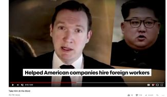 This screen shot from a campaign ad posted on YouTube posted by western New York Congressional candidate Republican U.S. Rep. Chris Collins, features his Democratic opponent Nate McMurray speaking in Korean while captions from the Collins campaign accuse McMurray of working to send jobs to China and Korea. It is among several attack ads raising critiques of how race and ethnicity are being injected into some of this election cycle's races, also including the New York governor's race, where accusations of anti-Semitism were invoked. (YouTube via AP)
